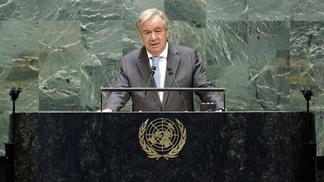 El Secretario General, António Guterres, interviene en la reunión de alto nivel de la Asamblea General para conmemorar el septuagésimo quinto aniversario de las Naciones Unidas. ONU/Manuel Elías