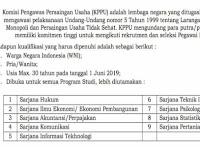 Rekrutmen Pegawai KPPU - Dibuka 9 Formasi Online rekrutmen@kppu.go.id