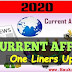 Daily Current Affairs One Liner Updates on 1 - 2 Aug 2020