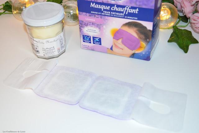 yeux fatigués - reposant - masque - masque tissu - masque chauffant - lavande