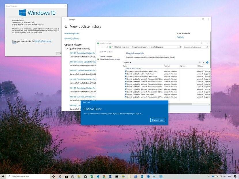 Lỗi start menu và search không hoạt động Windows 10