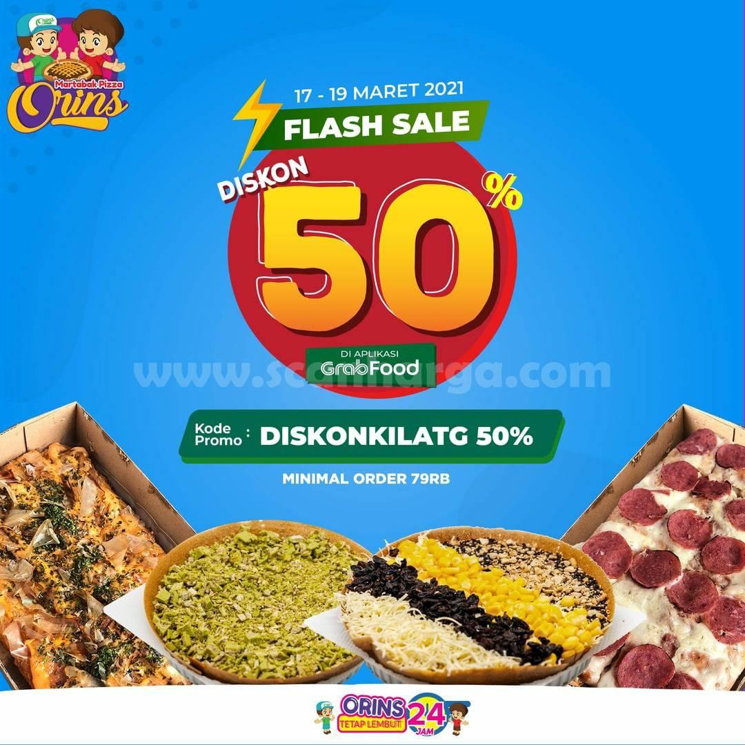 Martabak Pizza Orins Promo Flash Sale Diskon Kilat 50% via GRABFOOD