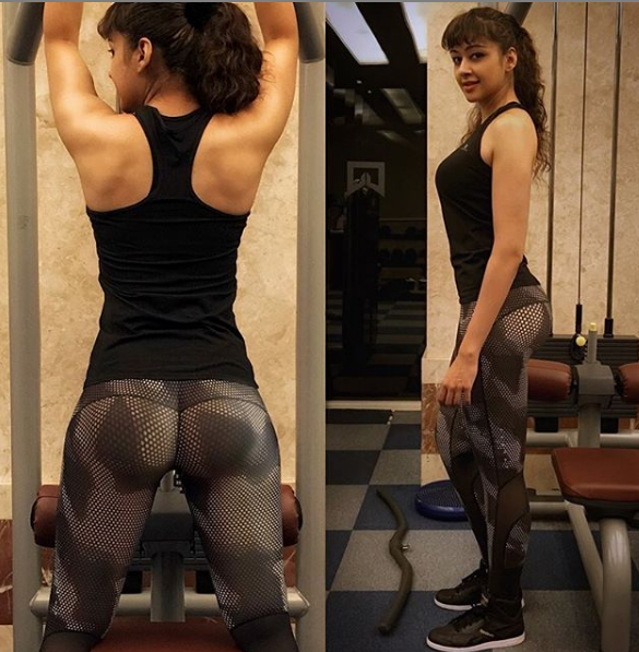 sapna vyas patel in black fitness suit at the gym