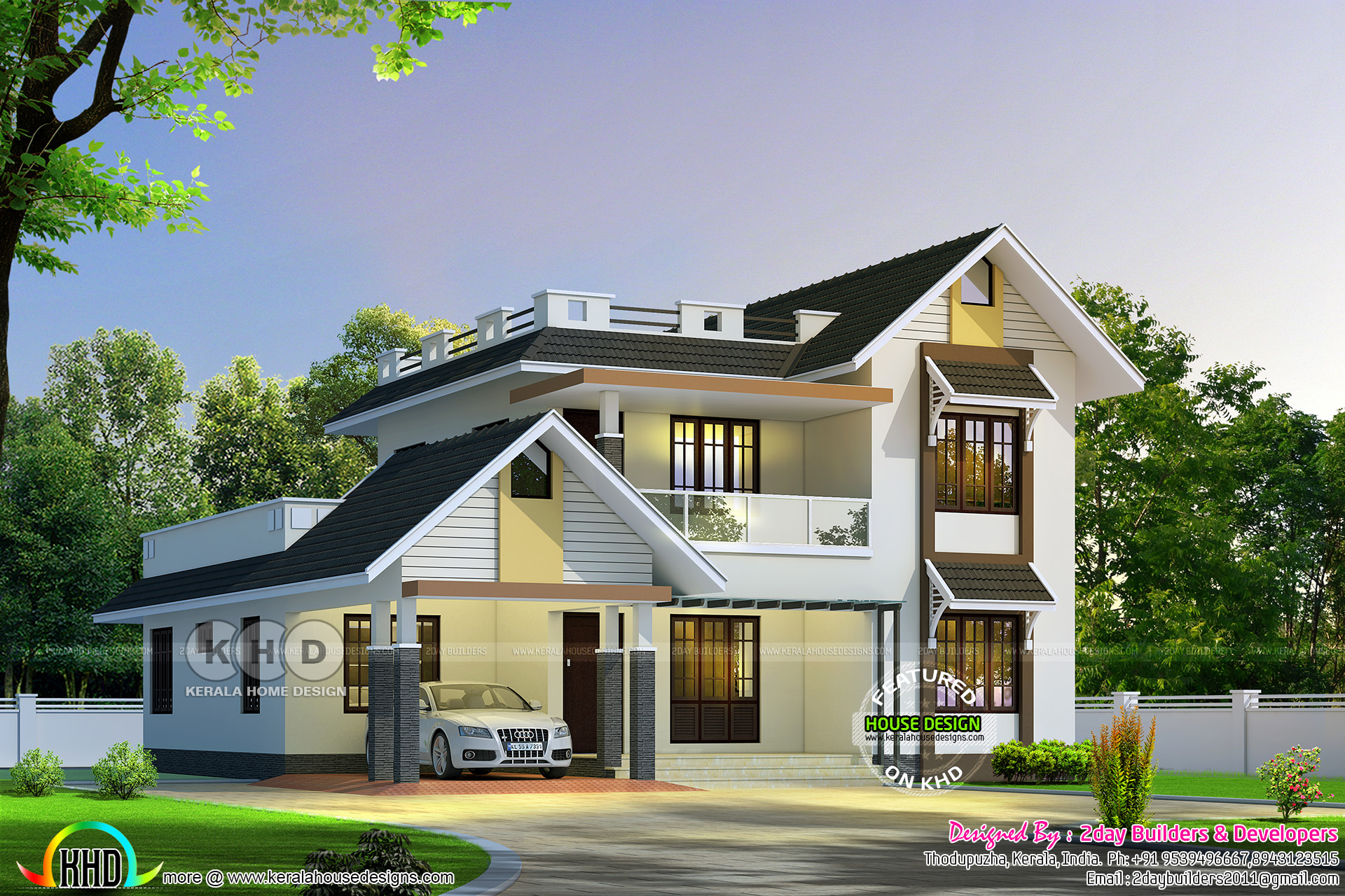 August 2017 kerala home design and floor plans for Colonial style home design in kerala