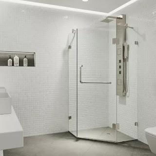 A Frameless Neo-Angle Shower Door