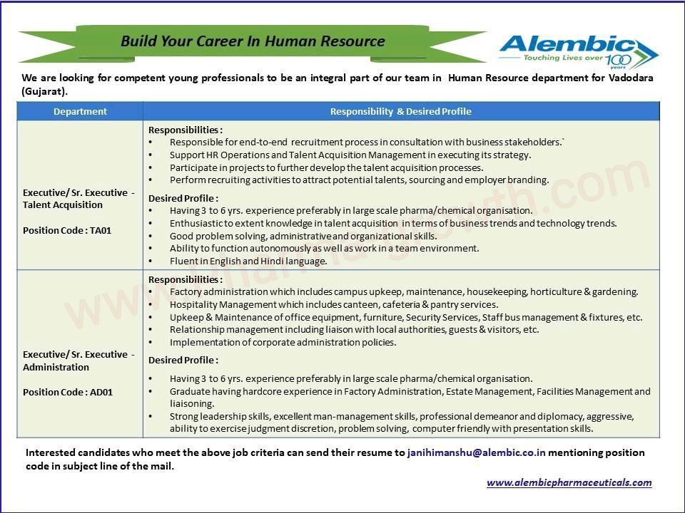 Urgently Vacancy at Alembic Pharma