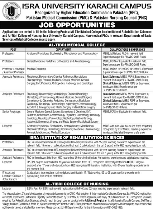 567+Vacancy Isra University Karachi Jobs October 2020