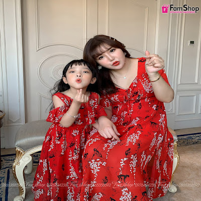 Váy maxi mẹ và bé gái M417