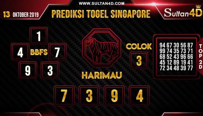 PREDIKSI TOGEL SINGAPORE SULTAN4D 13 OKTOBER 2019