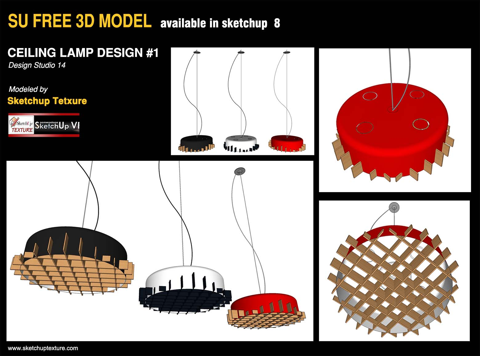 free sketchup 3d model ceiling modern design lamp #1