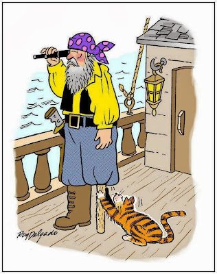 Funny pirate ship cat joke cartoon picture wooden leg scratch post