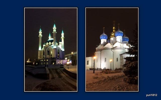 Мусульманская мечеть и православный храм мирно уживаются на территории Казанского кремля.