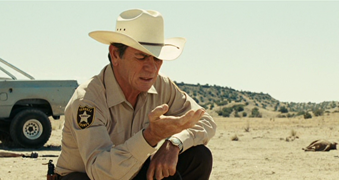 Tommy Lee Jones as aging county sheriff Ed Tom Bell, in No Country for Old Men (2007), Directed by Joel and Ethan Coen