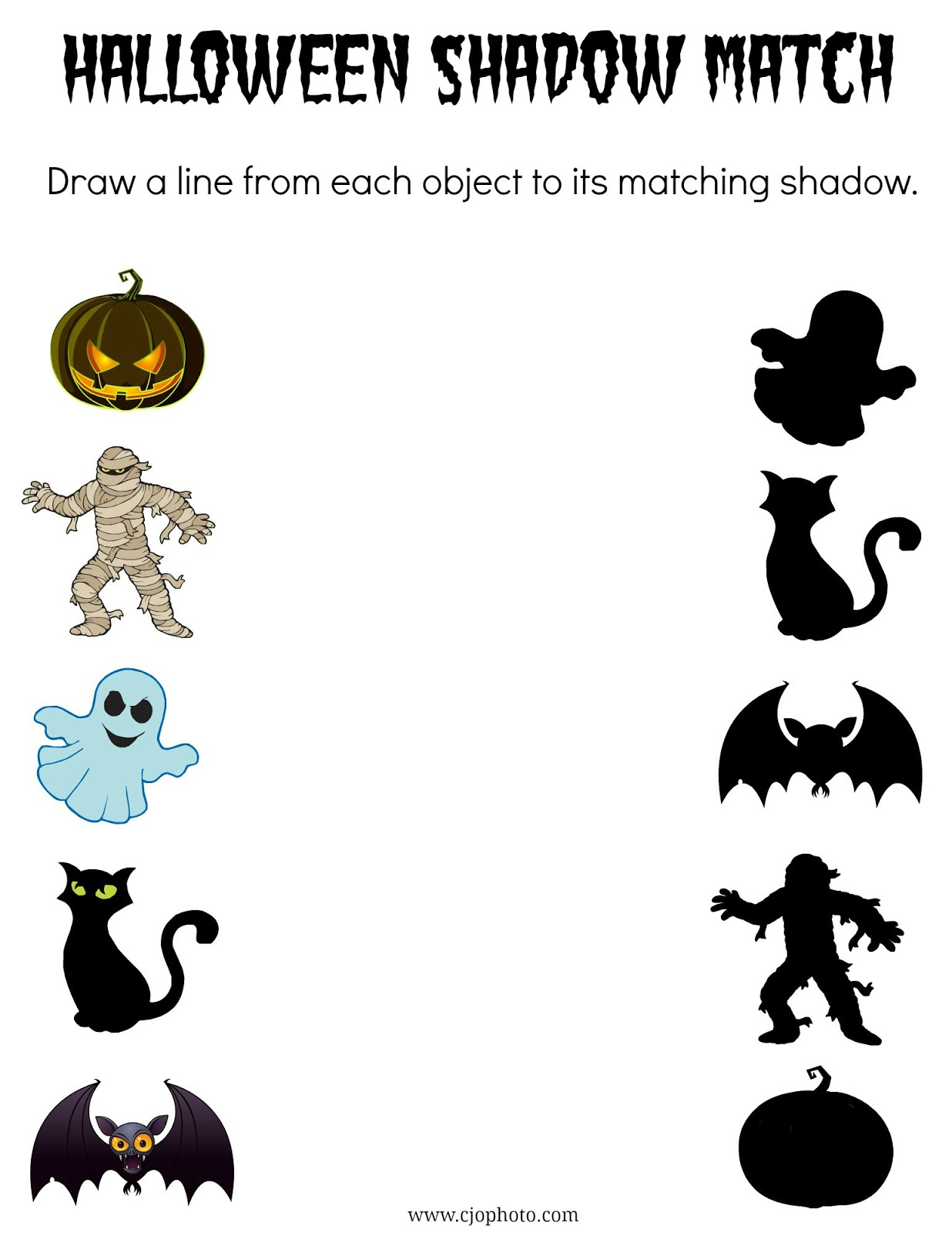 Cjo Photo Printable Halloween Shadow Match Game