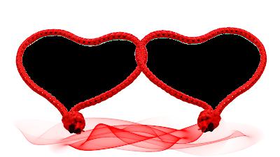 Moldura Dia dos Namorados 2 corações entrelaçados in red png