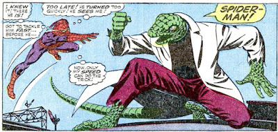 Amazing Spider-Man #45, John Romita, his arm in a sling, Spider-Man leaps at the Lizard