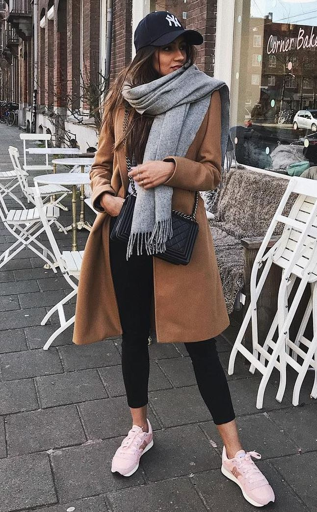 winter street style obsession / hat + scarf + crossbody bag + brown coat + black skinnies + sneakers