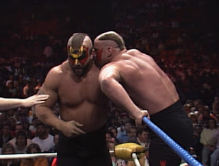 WCW Starrcade 1989 - Hawk and Animal confer in the corner