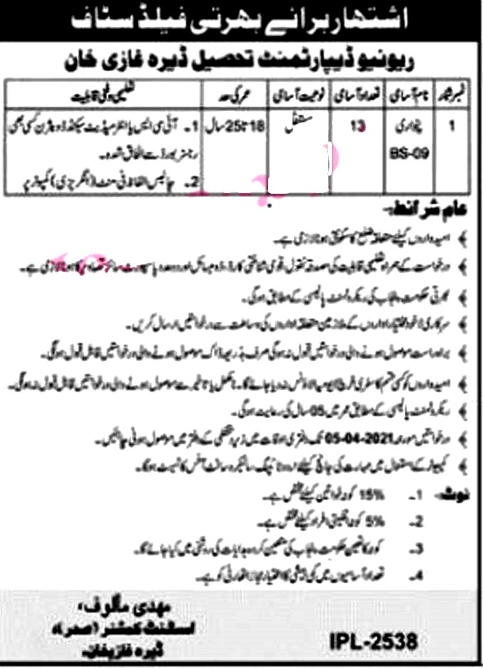 Latest Jobs in Revenue Department Government of Punjab 2021