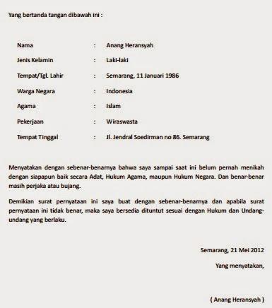 Contoh Surat Pernyataan Belum Menikah 2019 Januari 2019