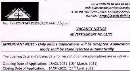Delhi Subordinate Service Selection Board Recruitment 2021