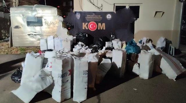 Urfa'da binlerce paket kaçak sigara ele geçirildi