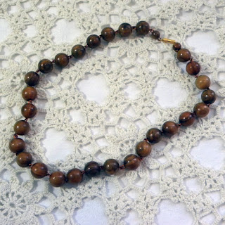 wooden polished bead vintage necklace