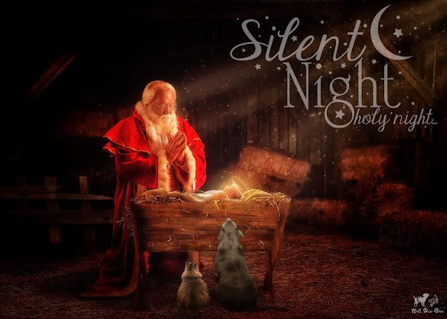 Matt and Matilda Praying with Santa over Baby Jesus (©Jenny Bell @ Bell Fur Zoo)