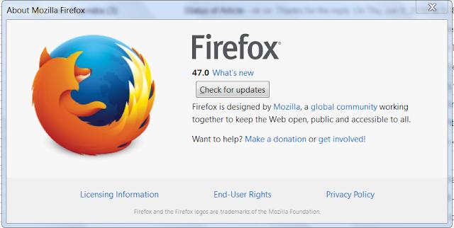 Mozilla Firefox about page