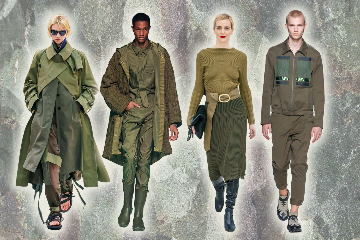 a collage with four military-isnpired high fashion outfits
