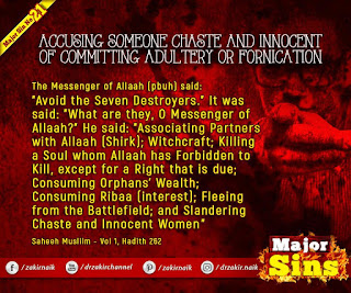 MAJOR SIN. 21. ACCUSING SOMEONE CHASTE AND INNOCENT OF COMMITTING ADULTERY OR FORNICATION
