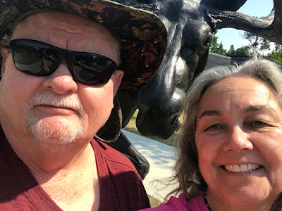 Us Infront of the Moose Statue at the Kenai National Wildlife Refugee