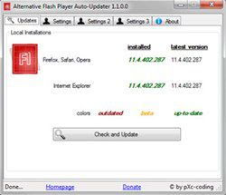 Program for automatic update of Flash Player