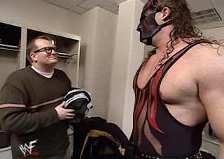 WWE / WWF Royal Rumble 2001 - Kane stares down Drew Carey backstage