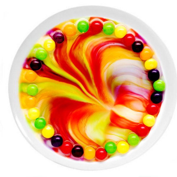 Making a skittles rainbow science experiment for kids