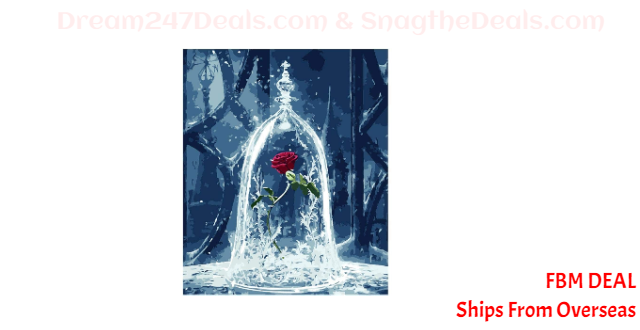 80%  off  DIY Rose in Vase Painting Set Canvas Number Painting Kit for Beginners Paintings