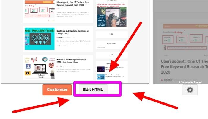 Click The Edit  HTML