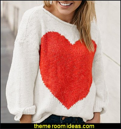 Loose Heart Print Pullover Women's Sweater womens jumpers womens tops womens clothing