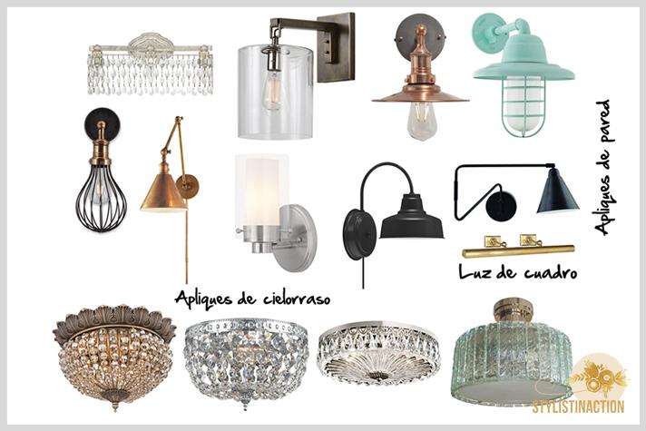 10 tips para tener en cuenta al momento de pensar la iluminación de tu casa. Apliques de pared y cielorraso. Post Stylistinaction