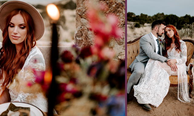 country bride in lace wedding dress with hat and fringe