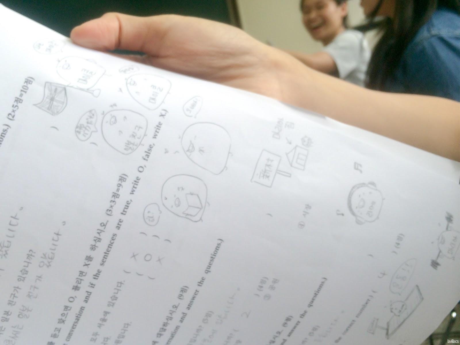 Seoul, Korea - Summer Study Abroad 2014 - KLI classmate's final written exam doodles