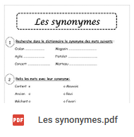 fiche d'exercices ce1 les synonymes