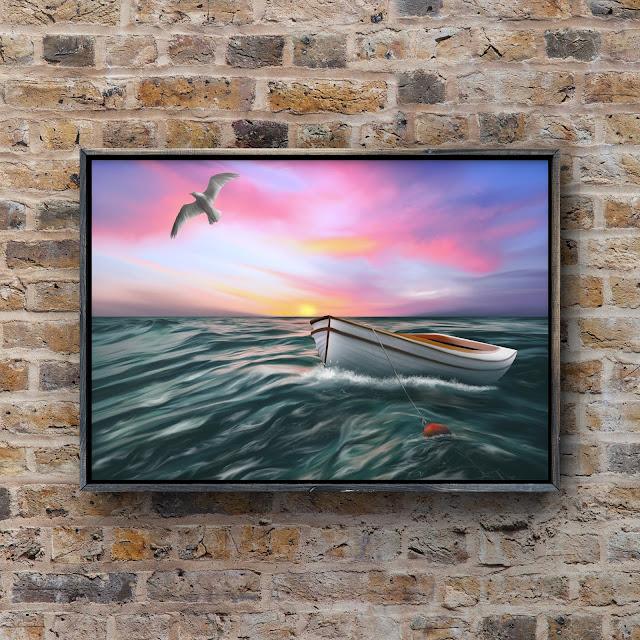 Adrift on a Building Sea by Mark Taylor, beach art, seascape art, ocean art,