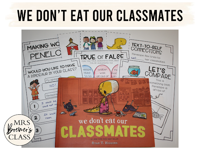 We Don't Eat Our Classmates book study companion activities to go with the story by Ryan T. Higgins. A fun back to school book! Your students will love this hilarious book about a dinosaur who tries to make friends...even when they are delicious! Packed with fun literacy ideas and guided reading activities. K-2 Common Core aligned. #bookstudy #bookstudies #bookcompanion #bookcompanions #backtoschool #picturebookactivities #kindergartenreading #1stgradereading #2ndgradereading #guidedreading