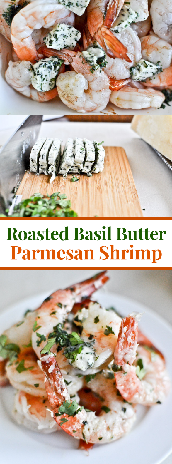 ROASTED BASIL BUTTER PARMESAN SHRIMP #dinner #pasta