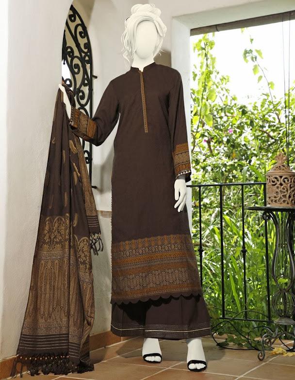 J. Junaid Jamshed winter collectionBrown printed khaddi suits