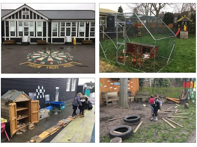 Neljä ulkokuvaa koulusta. Yksikerroksinen koulurakennus, minkä asvalttipihaan on maalattu pelikenttiä. Muutaman kanan kanala. Pihan osa, missä on leikkiä varten muovileluja, mutta myös lautoja, puupöllejä ja utonrenkaita.