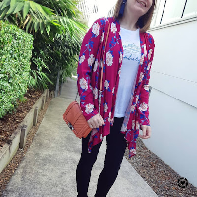 awayfromblue Instagram | Cotton On Leah kimono magenta floral print with peach bag skinny jeans graphic tee