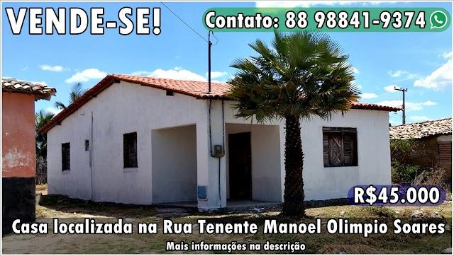 Vende-se casa na Rua Tenente Manoel Olimpio Soares