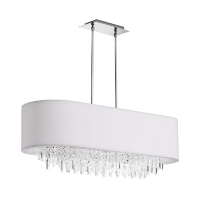 I Love The Oblong Shape Of This Chandelier Simple Hardware And Tailored Shade Also Available In Red Grey Black Are Given A Touch Elegance